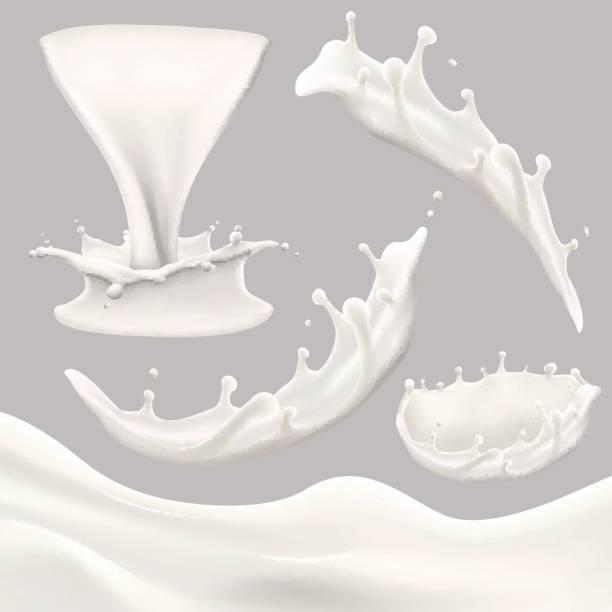 whole milk big set, pouring and splashing milk, glass, carton, jug, bottle vector art illustration