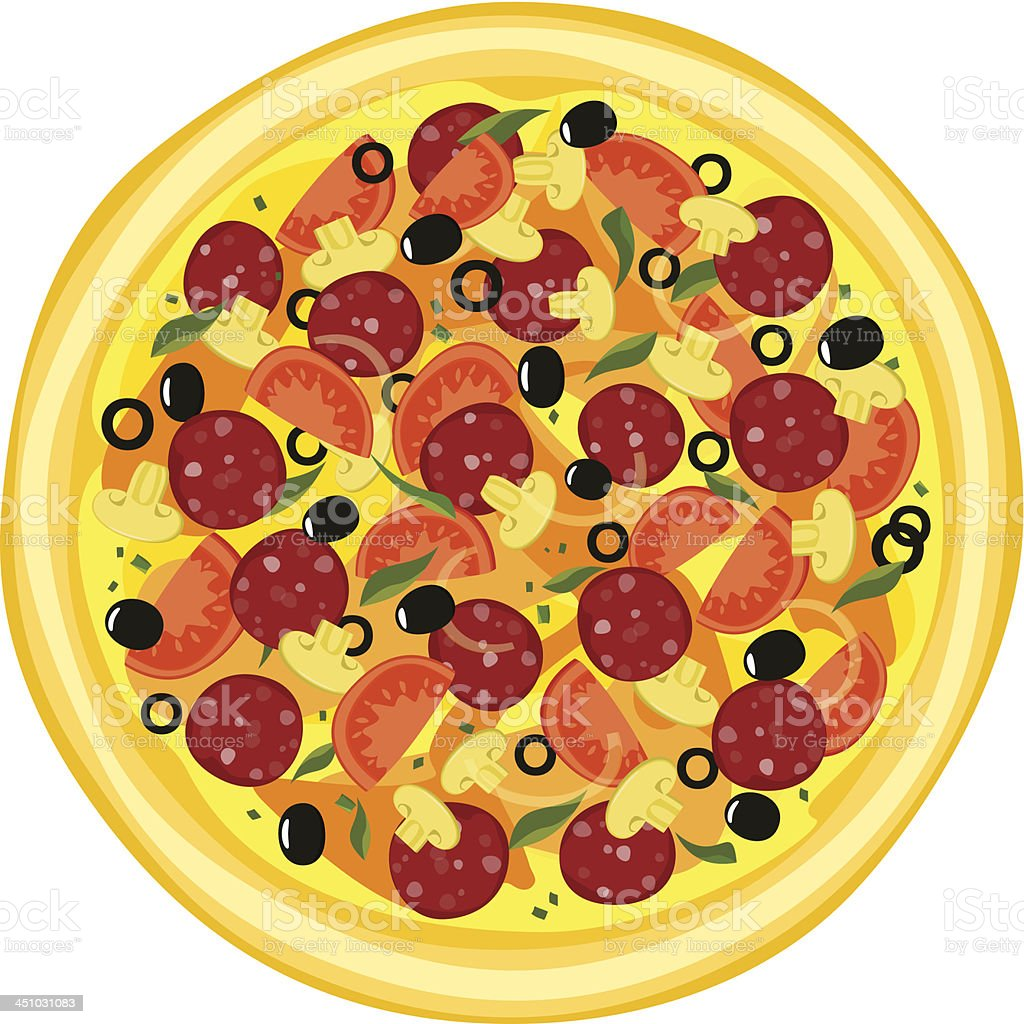 Whole pizza different ingredients. vector art illustration