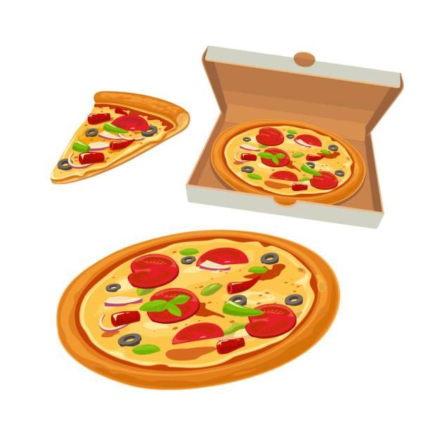 ilustraciones, imágenes clip art, dibujos animados e iconos de stock de pizza entera mexicano en abrir la caja de blanco y rebanada. vector aislado plano ilustración para cartel, menús, logotipo, folleto, web e icono. - pizza
