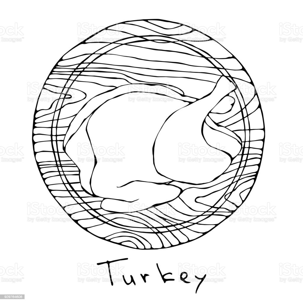 Whole Raw Turkey, Chicken Carcass on Round Cutting Board. For Cooking, Holiday Meals Christmas, Thanksgiving , Recipes, Meat Guide, Butcher, Menu. Hand Drawn Illustration. Savoyar Doodle Style royalty-free whole raw turkey chicken carcass on round cutting board for cooking holiday meals christmas thanksgiving recipes meat guide butcher menu hand drawn illustration savoyar doodle style stock vector art & more images of backgrounds