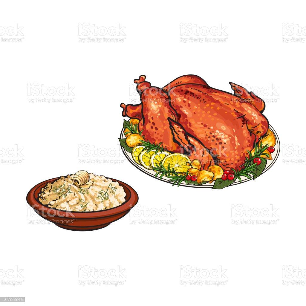 Whole roasted turkey and bowl of mashed potato vector art illustration