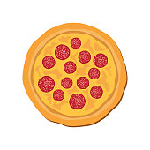 istock Whole salami pizza top view icon vector 1294907572
