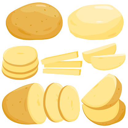 Whole, sliced and peeled potatoes. Vector illustration.