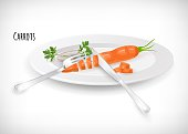 Whole, sliced carrots with fork, knife, onion rings, on white plate in flat style. Carrot hand drawn image. Vector illustration.