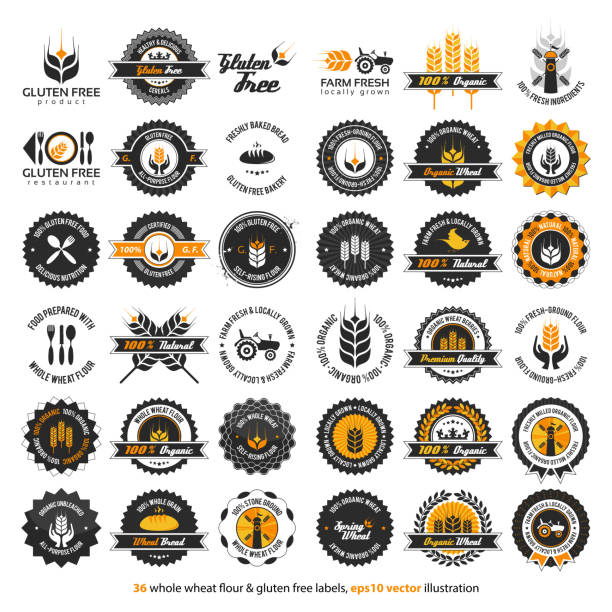 36 whole wheat flour & gluten free labels - restaurant logos stock illustrations, clip art, cartoons, & icons