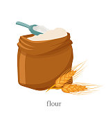 Wholemeal flour flat vector illustration. Open sack with white powder, wooden scoop and wheat spikelet composition. Natural product, organic pastry, dough ingredient. Bakery, bakehouse symbol
