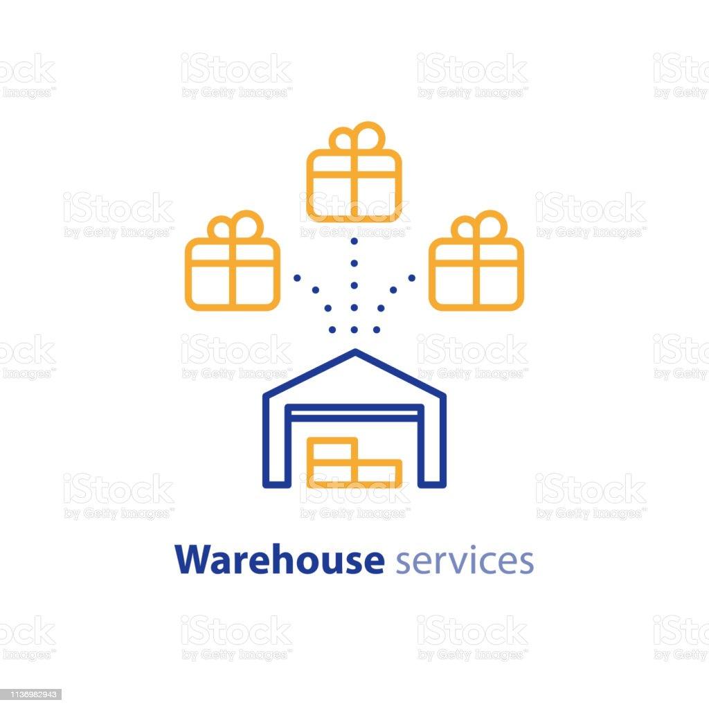 Wholesale warehouse distribution center concept, delivery chain...