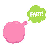 Whoopee cushion with cartoon fart cloud, funny sound effect. April Fools prank design element. Clip art vector illustration isolated on white background.