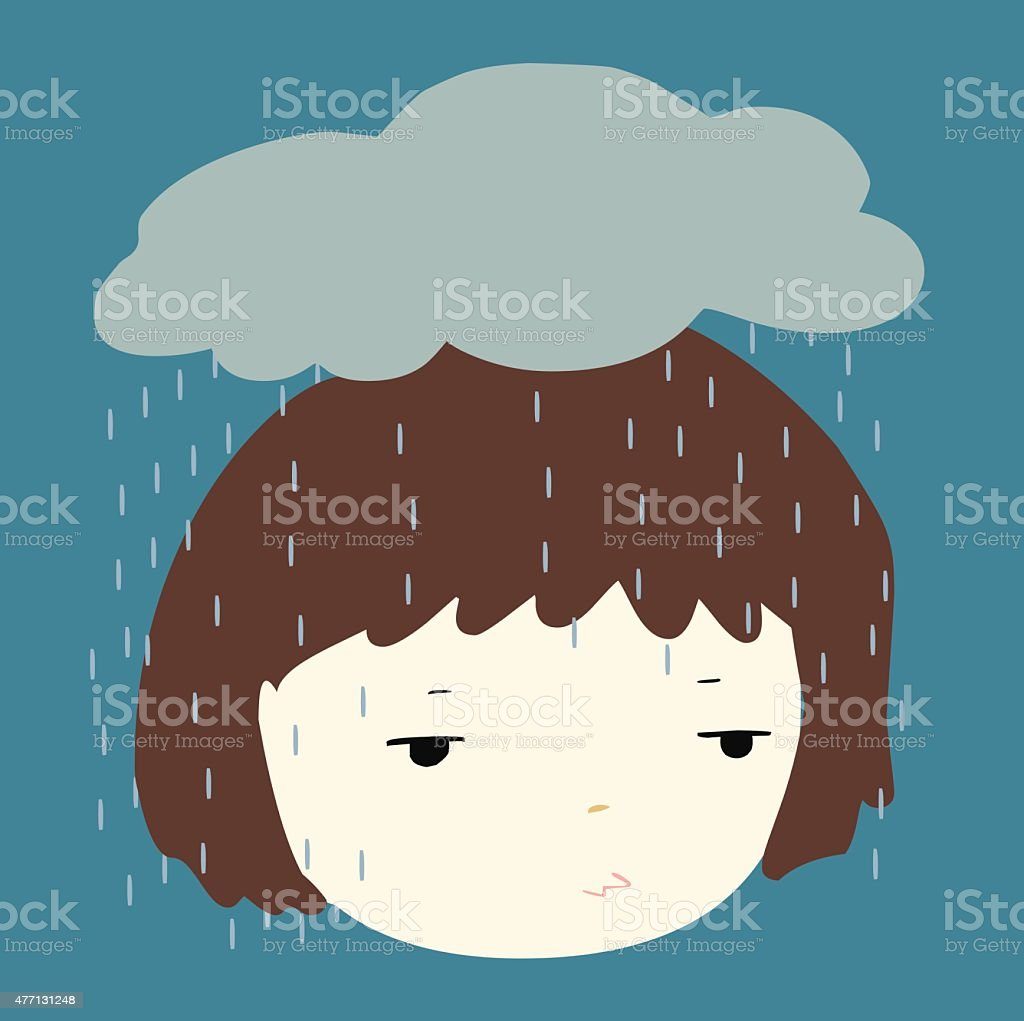 Why does it always rain on me vector vector art illustration