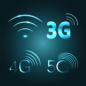 Wi Fi, 3G, 4G and 5G technology glow icon symbols, vector