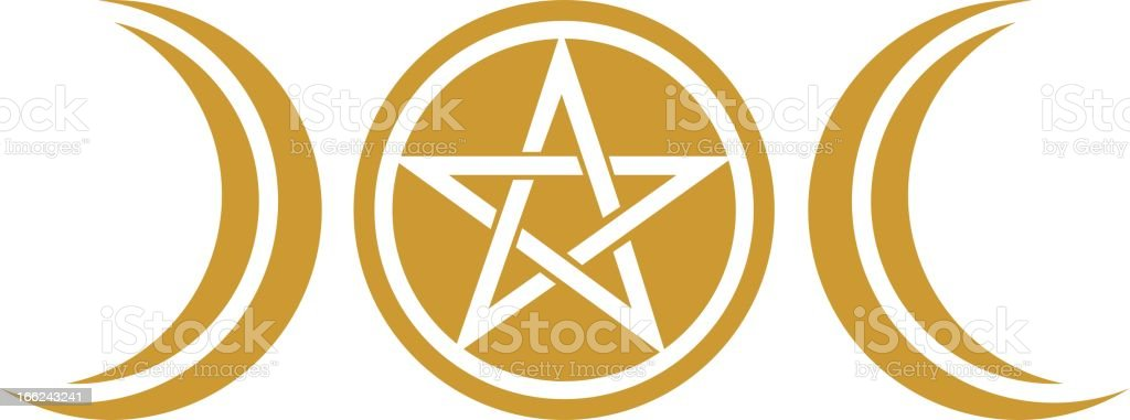 Wicca Moon Pentacle Pagan Symbol Stock Vector Art More Images Of