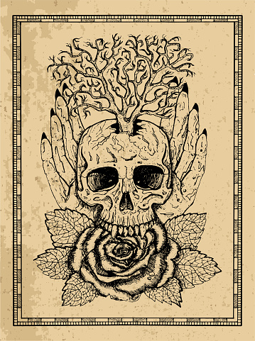 Wiccan emblem with skull, human hands, rose flower and tree in frame