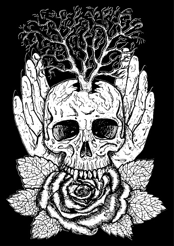Wiccan emblem with skull, human hands, rose flower and tree.