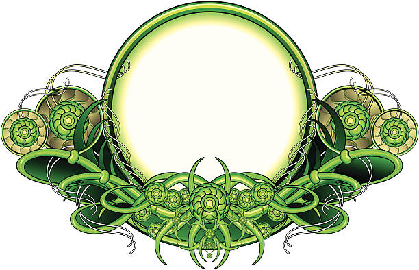 Wiccan floral circle frame in a green colors vector art illustration