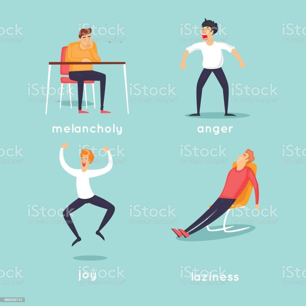Wicked, lazy, joyful, sad. Characters. Flat design vector illustration. vector art illustration