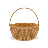 Wicker Basket Empty Object Isolate Vector