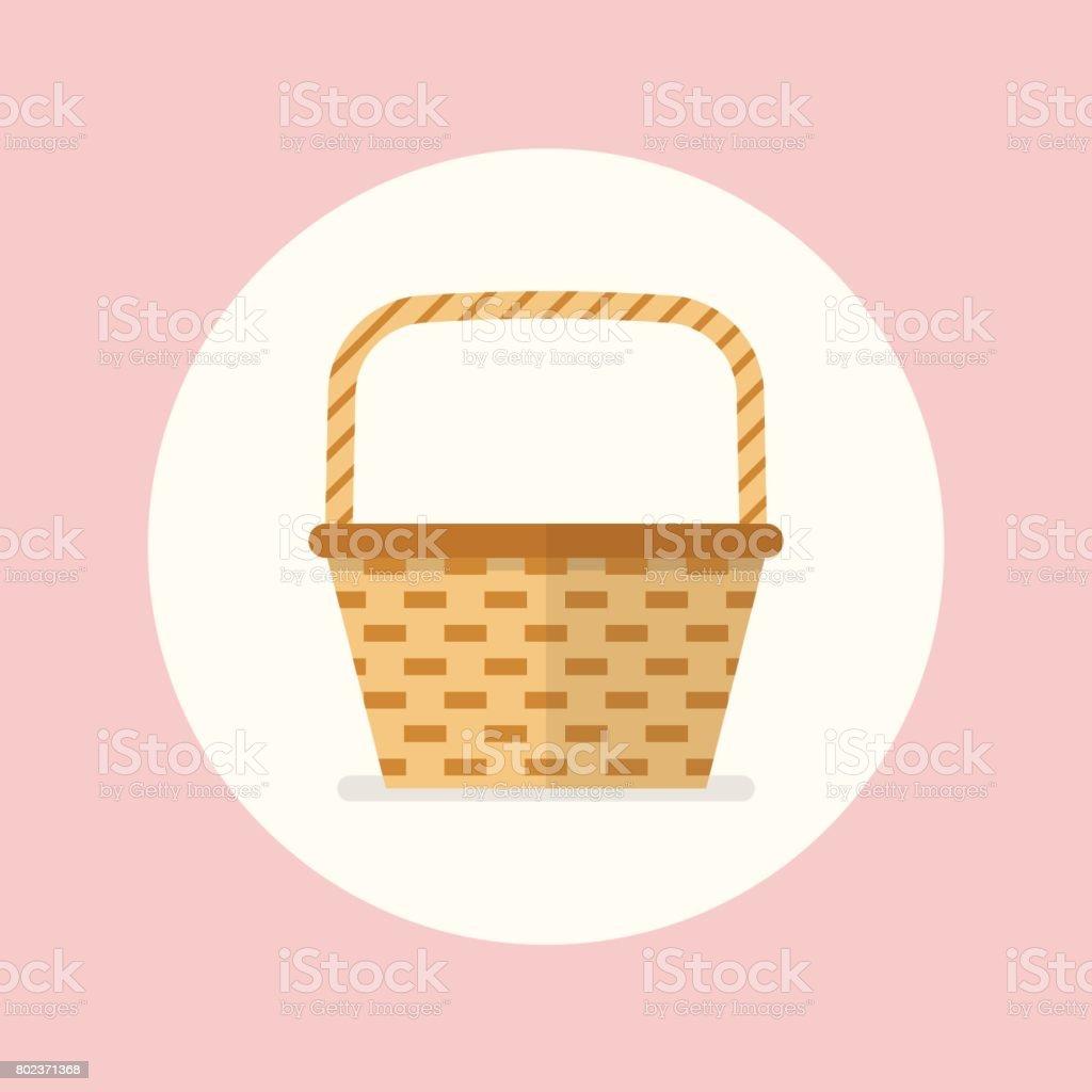 Wicker basket flat icon vector art illustration