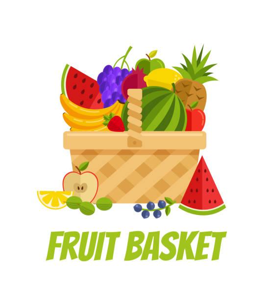 stockillustraties, clipart, cartoons en iconen met rieten mand vol fruit, kruisbes, granaat, citroen, oranje, appel, banaan, druiven, ananas, aardbei, watermeloen. landbouw tuin landbouw concept - mand