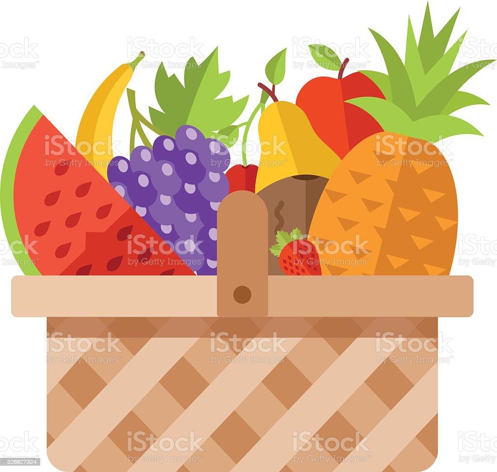 Wicker basket full of fruits. Modern flat design concepts vector art illustration