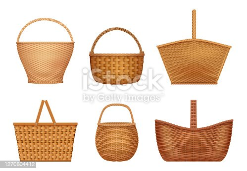 Wicker basket. Handcraft decorative picnic containers for nature products vector realistic illustrations. Basket wicker, container handmade for picnic and easter