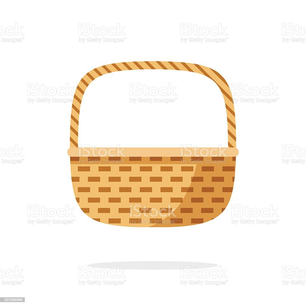 Wicker basket icon vector symbol isolated on white background vector art illustration