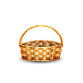 istock Wicker basket isolated on white background for your creativity 1310629358
