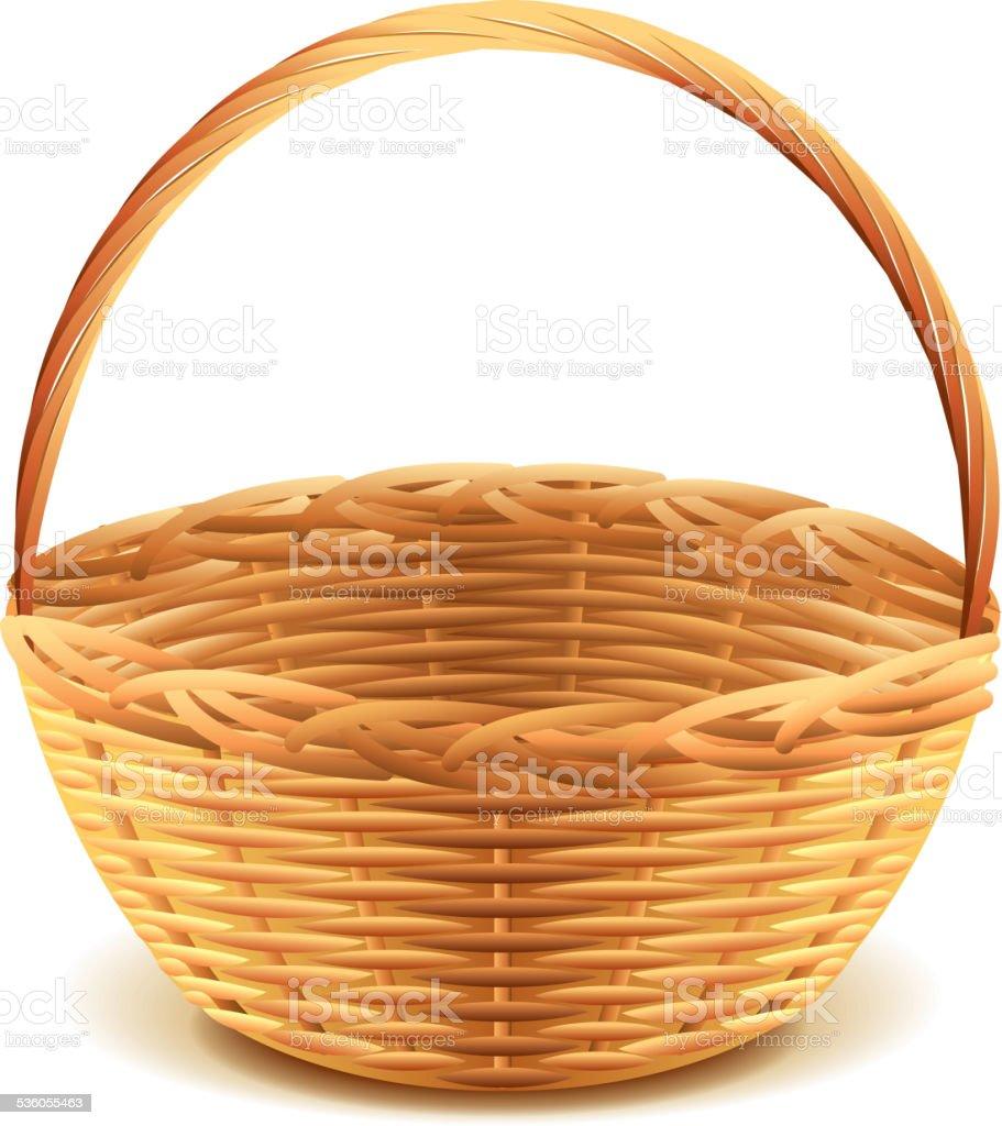 Wicker basket isolated on white vector vector art illustration