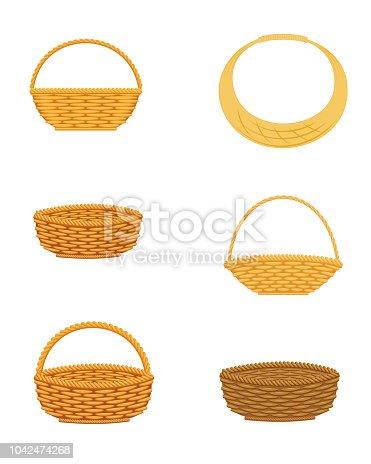 Wicker basket set, isolated on white background, design element