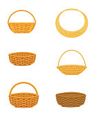 Wicker basket set, isolated on white background, design element