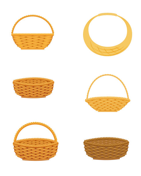 Wicker basket set Wicker basket set, isolated on white background, design element wicker stock illustrations
