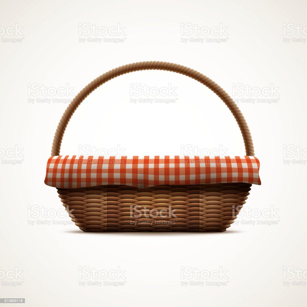Wicker basket vector art illustration