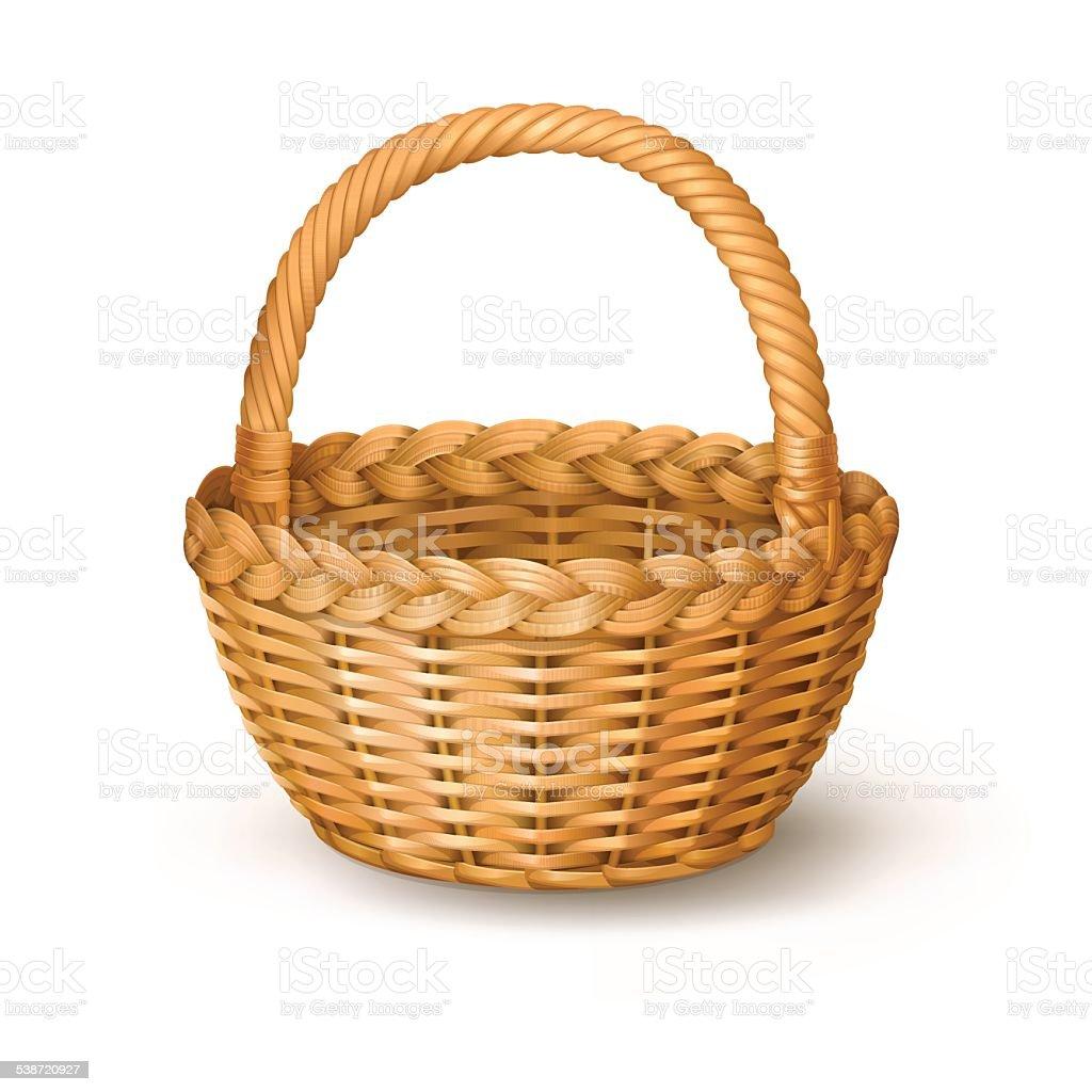 Wicker basket. vector art illustration