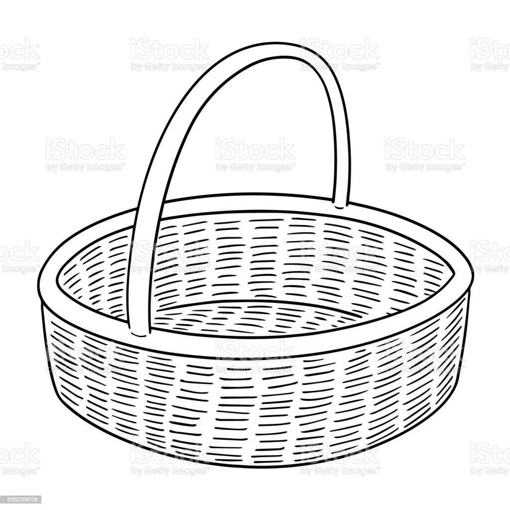 wicker basket royalty-free wicker basket stock illustration - download image now