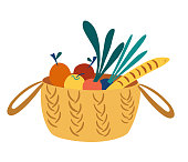 Wicker basket with groceries. Picnic basket with healthy organic food. Caring for the environment concept. Eco-food shopping. Harvesting the crop. Vector cartoon illustration for banner, magazine.