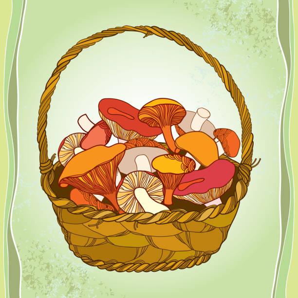 bildbanksillustrationer, clip art samt tecknat material och ikoner med wicker basket with mushrooms on the textured background - höst plocka svamp