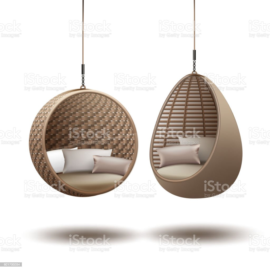 Wicker hanging chairs vector art illustration