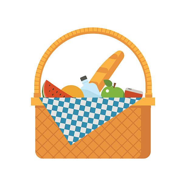 籐のピクニックバスケット - ピクニック点のイラスト素材/クリップアート素材/マンガ素材/アイコン素材