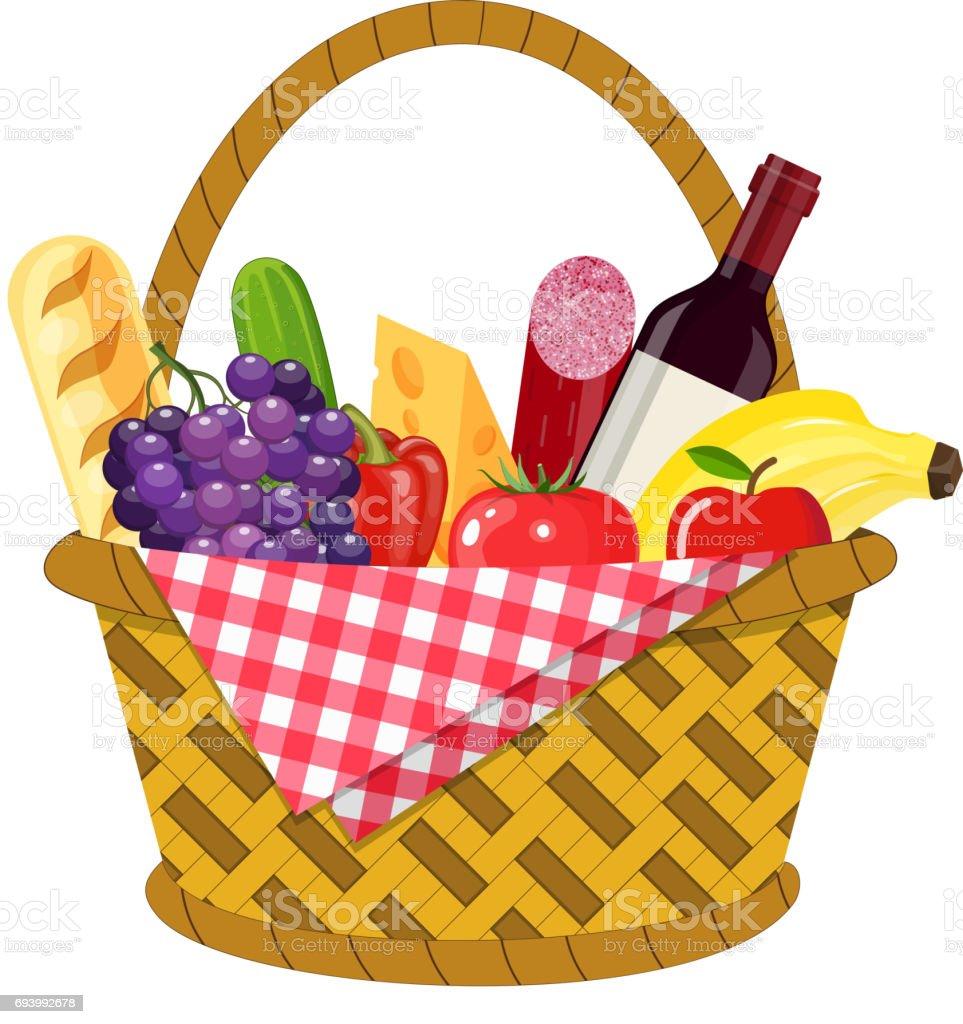 wicker picnic basket stock vector art more images of. Black Bedroom Furniture Sets. Home Design Ideas