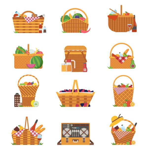 위커 피크닉 바구니와 바구니 아이콘 - 바구니 stock illustrations