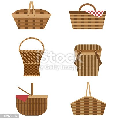Wicker and willow picnic baskets set isolated on white background. Collection of various weaving hampers with handles and different weaves for barbeque, easter eggs and tailgate party. Classic shapes.