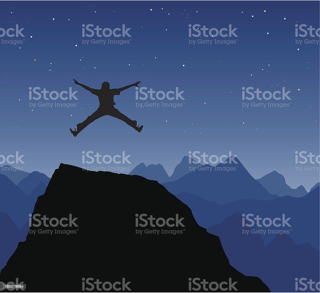 Wide awake at night vector art illustration