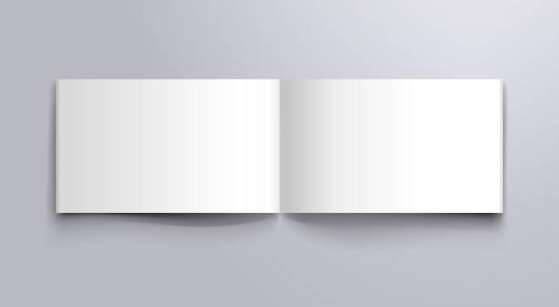 ilustrações de stock, clip art, desenhos animados e ícones de wide book open pages mockup - horizontal