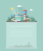 Wide copy space for text. Airport, view of the runway with a luggage car in the background of the city. Flat graphic landscape. Vector icon for design