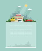 Wide copy space for text. concept for car washing service. Carwash service in the background of the city. Flat graphic landscape. Vector icon for design