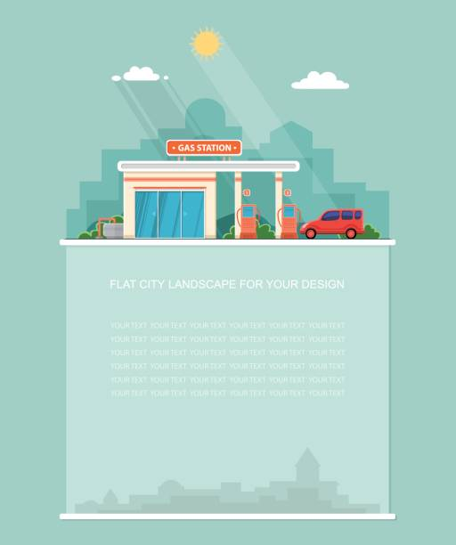 Wide copy space for text. Gas station. Oil, fueling petrol with shop. Red car on a pit stop on the city background. Flat landscape. Vector design Wide copy space for text. Gas station. Oil, fueling petrol with shop. Red car on a pit stop on the city background. Flat landscape. Vector design station stock illustrations