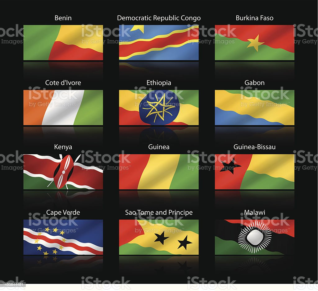 Wide cropped flags - Africa royalty-free stock vector art