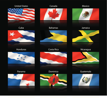 Wide cropped flags - North and Central America