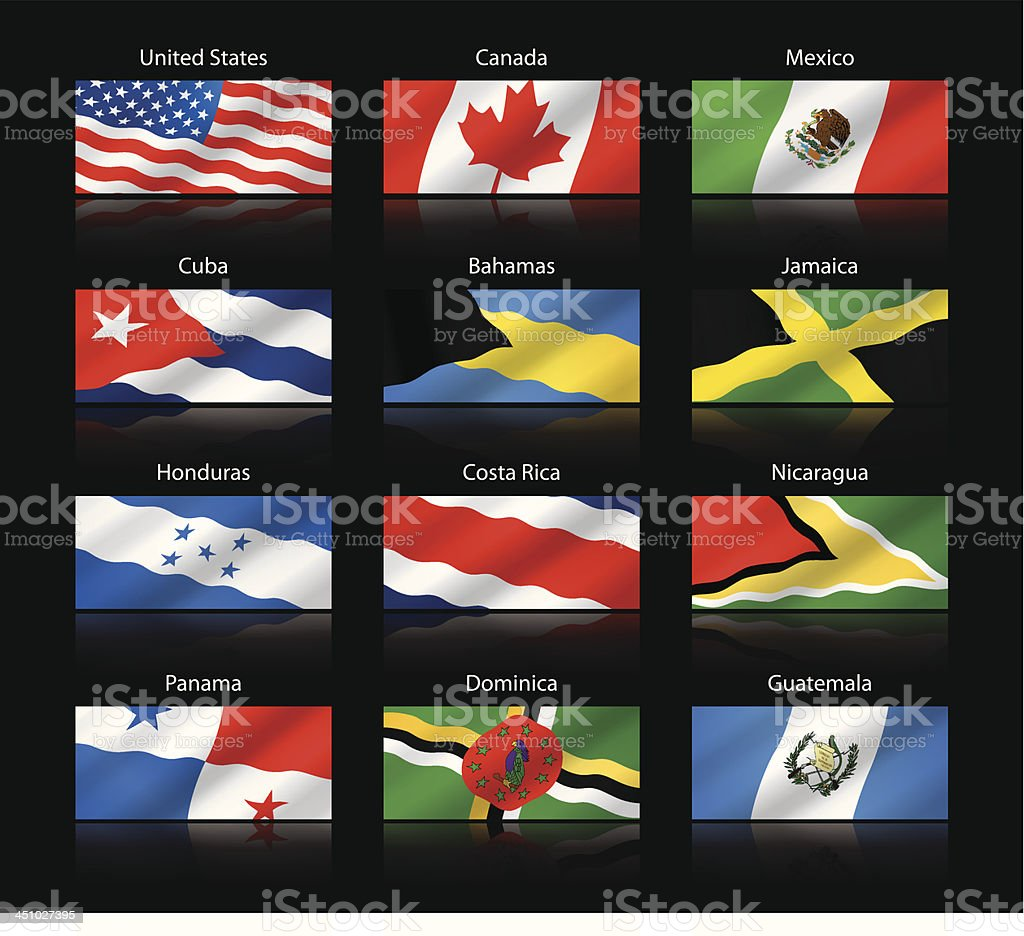 Wide cropped flags - North and Central America vector art illustration