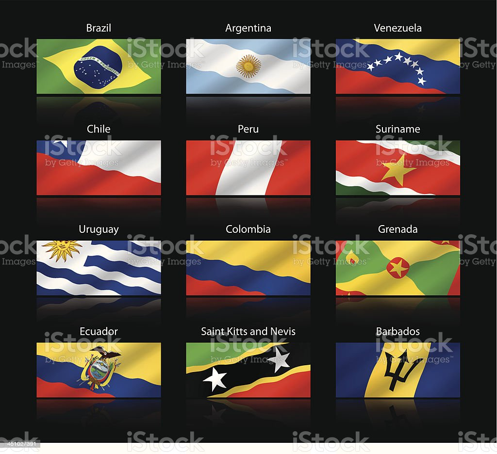 Wide cropped flags - South and Central America vector art illustration