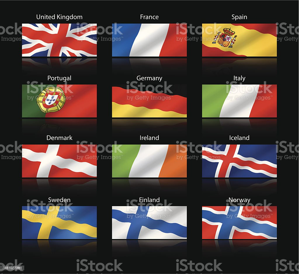 Große cropped flags-westliche und Nordeuropa-Routen – Vektorgrafik